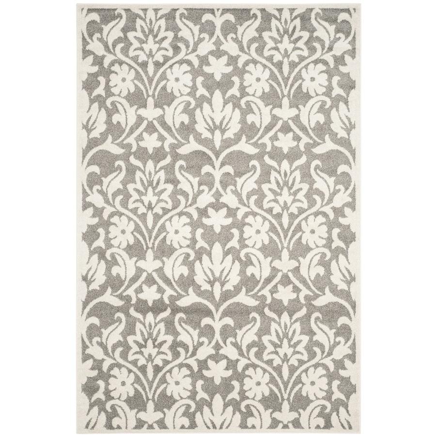 Safavieh Amherst Bouquet Dark Gray/Beige Rectangular Indoor/Outdoor Machine-Made Moroccan Area Rug (Common: 4 x 6; Actual: 4-ft W x 6-ft L)