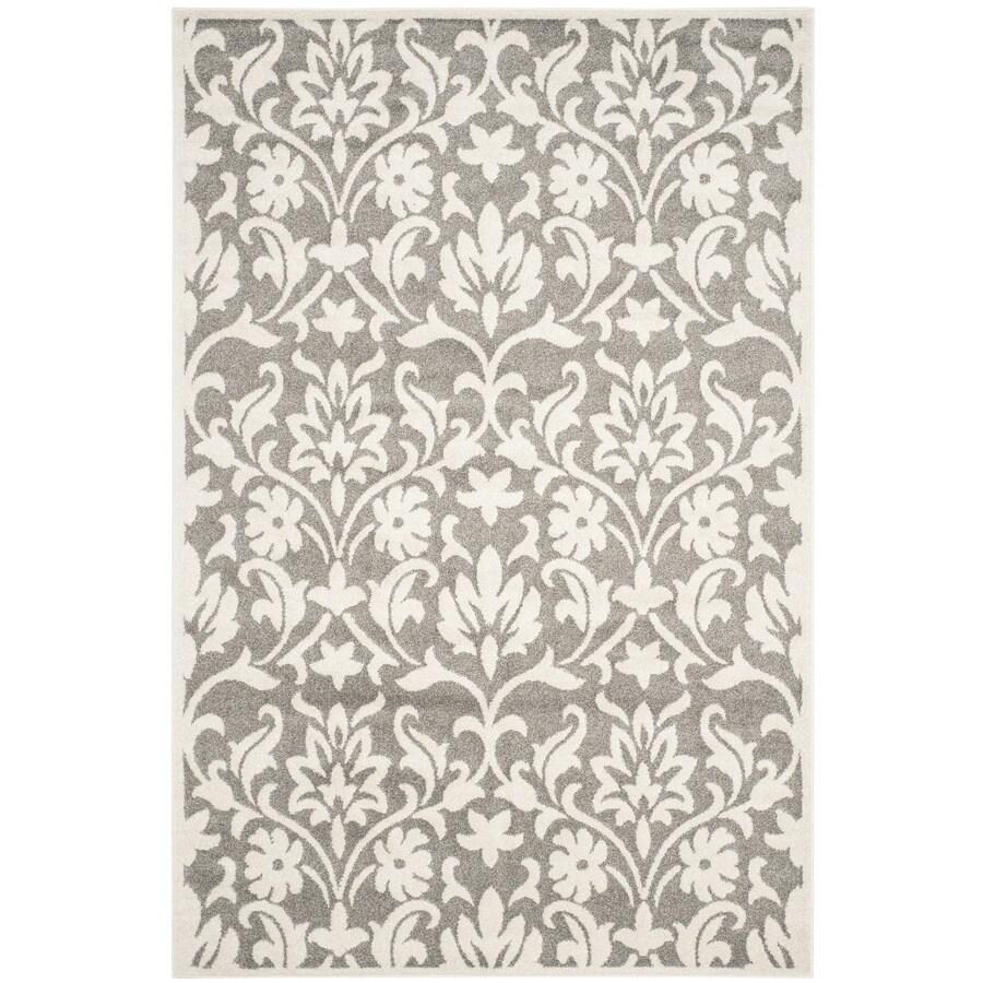 Safavieh Amherst Bouquet Dark Gray/Beige Rectangular Indoor/Outdoor Machine-Made Moroccan Area Rug (Common: 6 x 9; Actual: 6-ft W x 9-ft L)