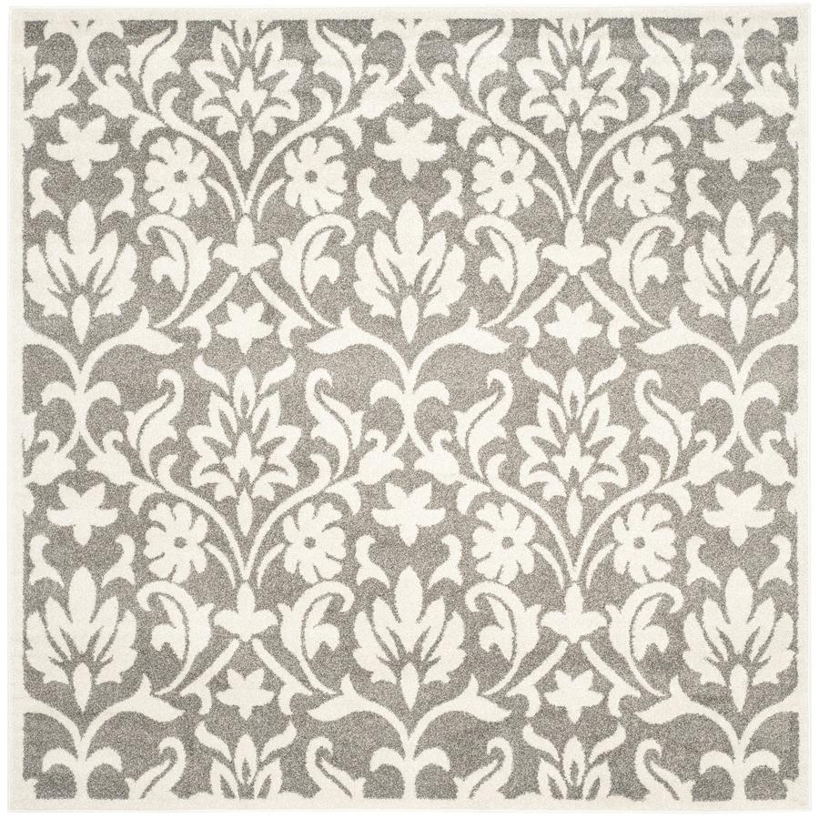 Safavieh Amherst Bouquet Dark Gray/Beige Square Indoor/Outdoor Moroccan Area Rug (Common: 7 x 7; Actual: 6.6-ft W x 6.6-ft L)