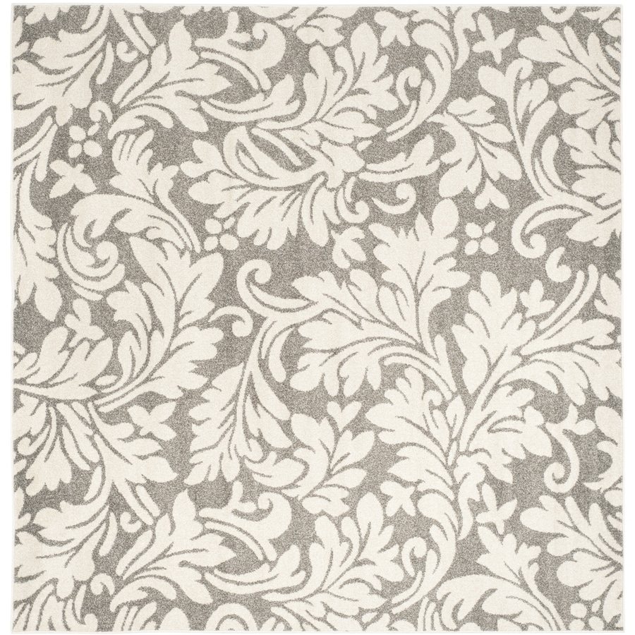 Safavieh Amherst Clara Dark Gray/Beige Square Indoor/Outdoor Machine-Made Moroccan Area Rug (Common: 7 x 7; Actual: 7-ft W x 7-ft L)