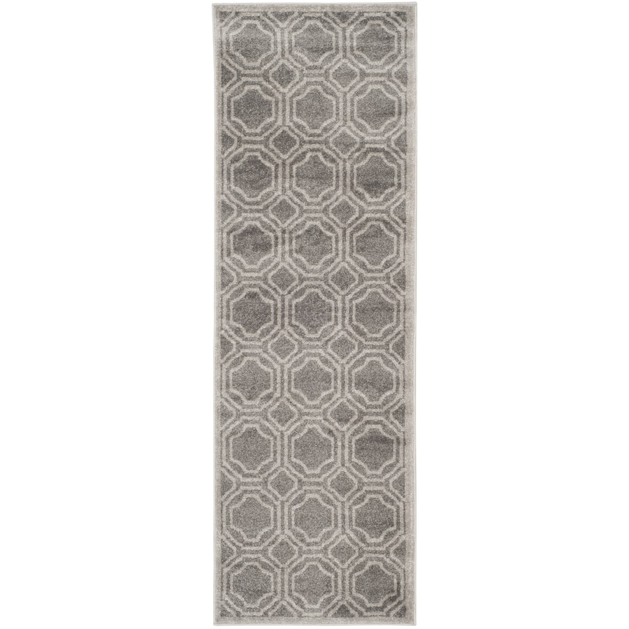 Safavieh Amherst Mosaic Gray/Light Gray Indoor/Outdoor Moroccan Runner (Common: 2 x 11; Actual: 2.3-ft W x 11-ft L)