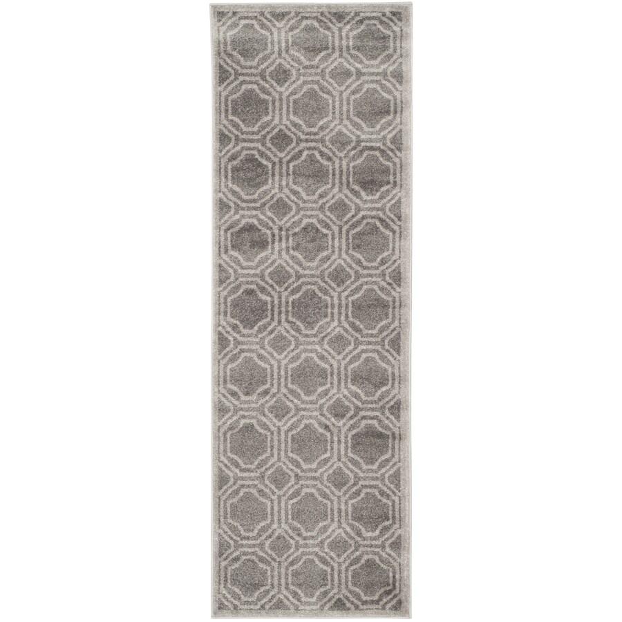 Safavieh Amherst Gray/Light Gray Rectangular Indoor/Outdoor Machine-Made Moroccan Runner (Common: 2 x 9; Actual: 2.25-ft W x 9-ft L)
