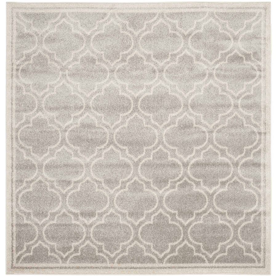 Safavieh Amherst Moroccan Gray/Ivory Square Indoor/Outdoor Machine-Made Moroccan Area Rug (Common: 5 x 5; Actual: 5-ft W x 5-ft L)
