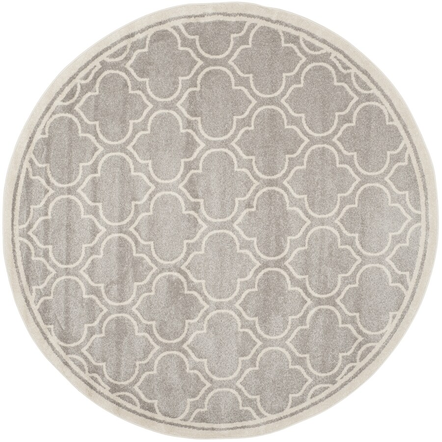 Safavieh Amherst Moroccan Gray/Ivory Round Indoor/Outdoor Moroccan Area Rug (Common: 5 x 5; Actual: 5-ft W x 5-ft L x 5-ft dia)