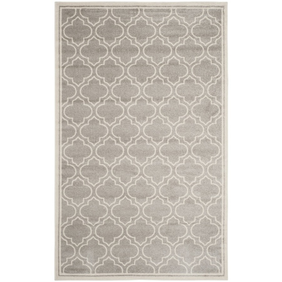 Safavieh Amherst Moroccan Gray/Ivory Rectangular Indoor/Outdoor Machine-Made Moroccan Area Rug (Common: 6 x 9; Actual: 6-ft W x 9-ft L)