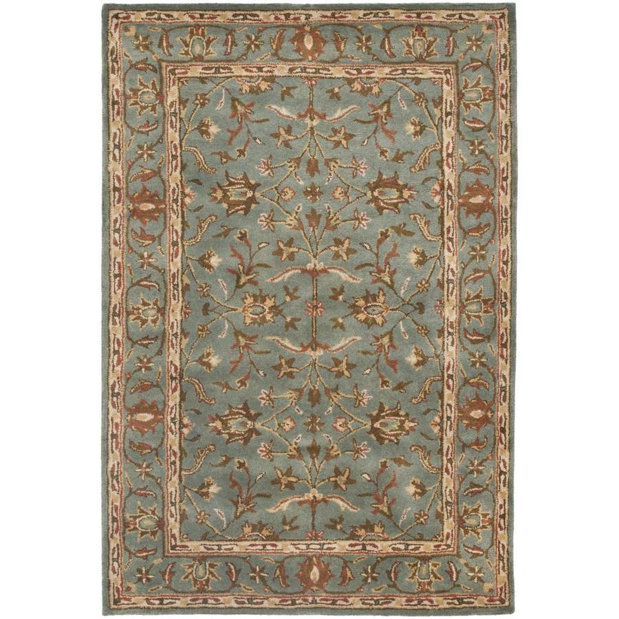 Safavieh Heritage Salor Blue/Blue Rectangular Indoor Handcrafted Oriental Area Rug (Common: 4 x 6; Actual: 4-ft W x 6-ft L)