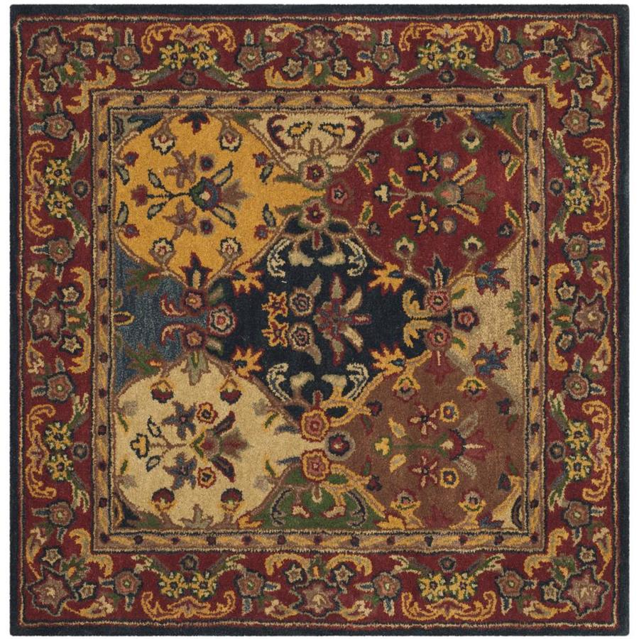 Safavieh Heritage Abaya Multi/Burgundy Square Indoor Handcrafted Oriental Area Rug (Common: 4 x 4; Actual: 4-ft W x 4-ft L)