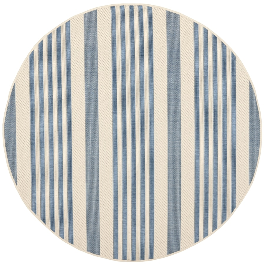 Safavieh Courtyard Dobby 5 X 5 Beige Blue Round Indoor Outdoor Stripe Coastal Area Rug In The Rugs Department At Lowes Com