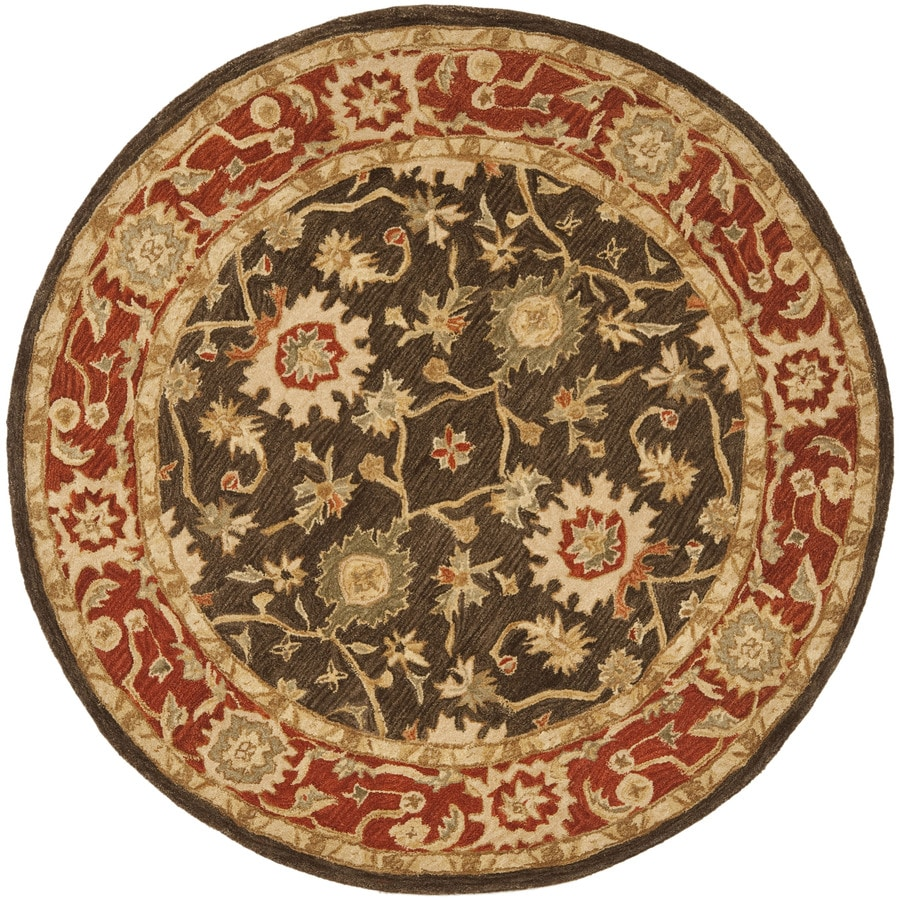 Safavieh Anatolia Olive and Rust Round Indoor Tufted Area Rug (Common: 6 x 6; Actual: 72-in W x 72-in L x 0.5-ft Dia)