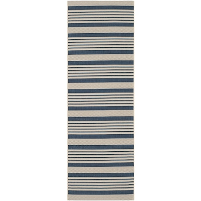 Safavieh Courtyard Dobby 2 X 8 Navy Beige Indoor Outdoor Stripe Coastal Runner In The Rugs Department At Lowes Com