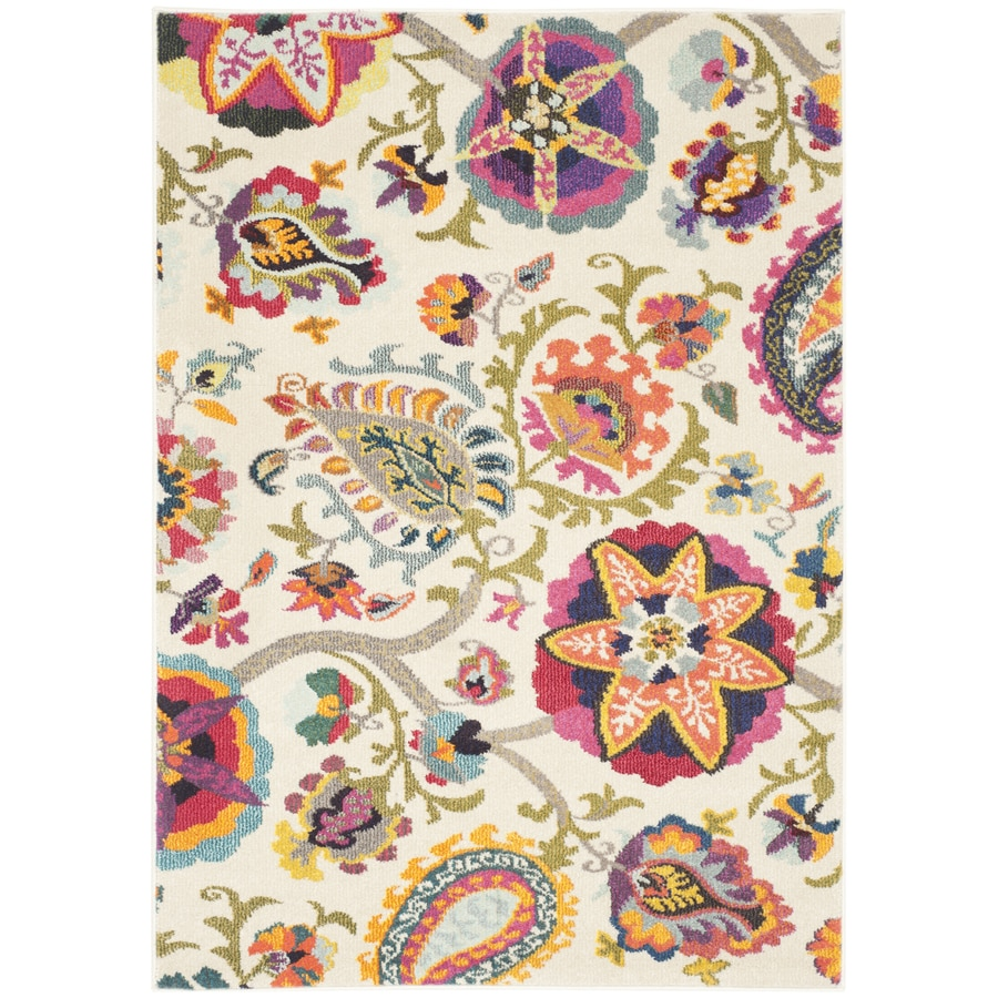 Safavieh Monaco Ivory/Multi Rectangular Indoor Machine-Made Area Rug (Common: 5 x 7; Actual: 5.083-ft W x 7.583-ft L)