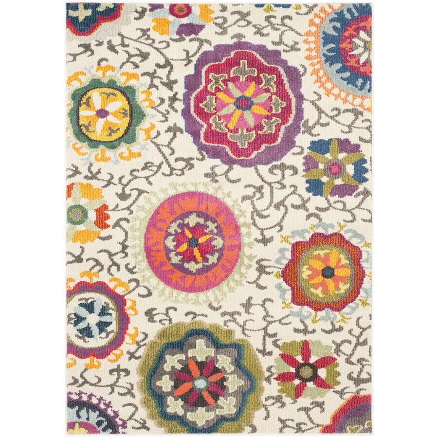 Safavieh Monaco Ivory/Multi Rectangular Indoor Machine-Made Area Rug (Common: 4 x 5; Actual: 4-ft W x 5.583-ft L)