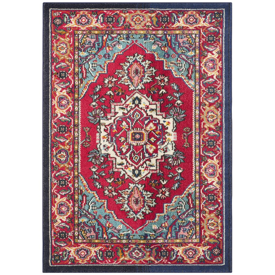 Safavieh Monaco Red/Turquoise Rectangular Indoor Machine-Made Area Rug (Common: 4 x 5; Actual: 4-ft W x 5.583-ft L)