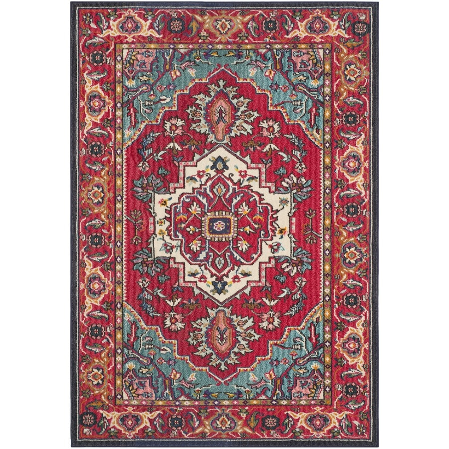 Safavieh Monaco Heritage Red/Turquoise Indoor Oriental Area Rug (Common: 5 x 8; Actual: 5.1-ft W x 7.6-ft L)