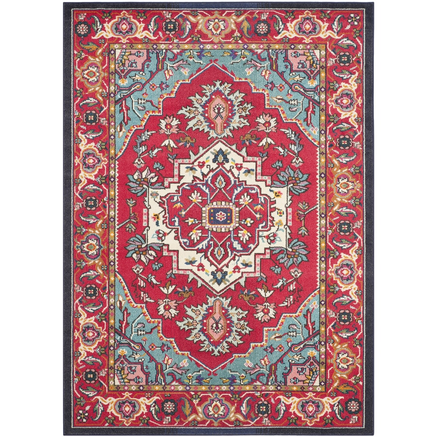 Safavieh Monaco Heritage Red/Turquoise Indoor Oriental Area Rug (Common: 7 x 9; Actual: 6.7-ft W x 9.2-ft L)