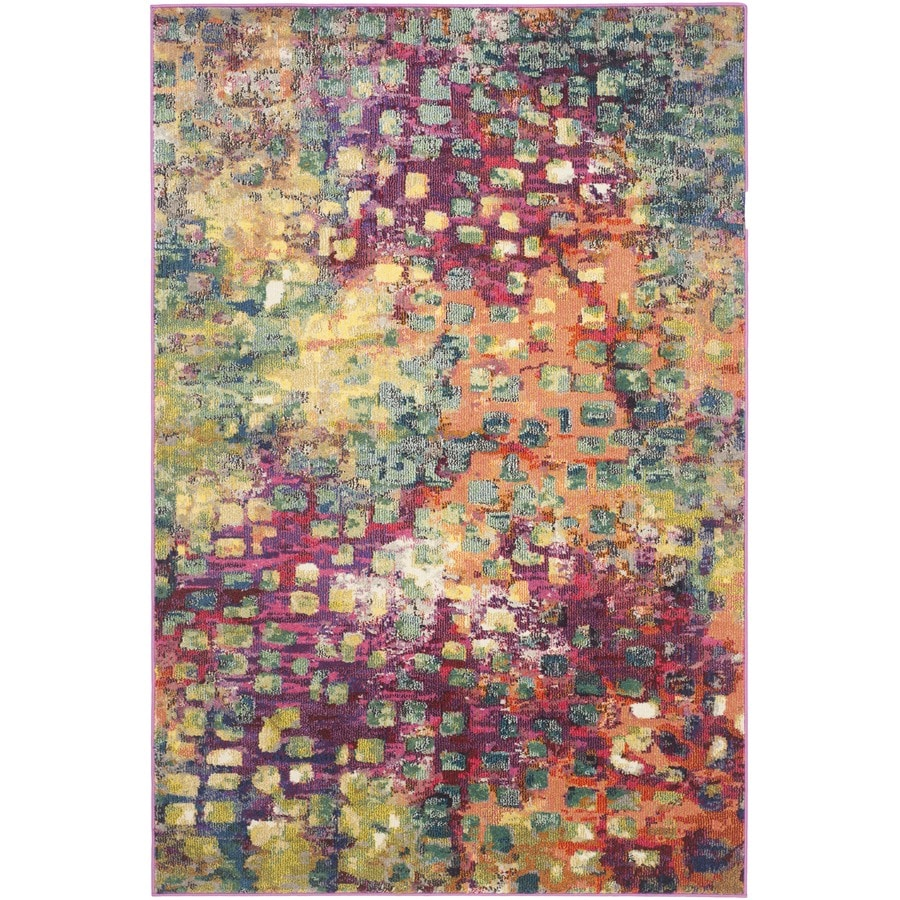 Safavieh Monaco Pink/Multi Rectangular Indoor Machine-Made Distressed Area Rug (Common: 5 x 7; Actual: 5.083-ft W x 7.583-ft L x 0-ft Dia)