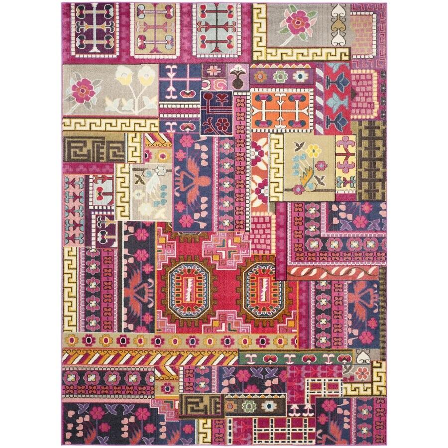 Safavieh Monaco Pink/Multi Rectangular Indoor Machine-Made Lodge Area Rug (Common: 6 x 9; Actual: 6.583-ft W x 9.166-ft L x 0-ft Dia)