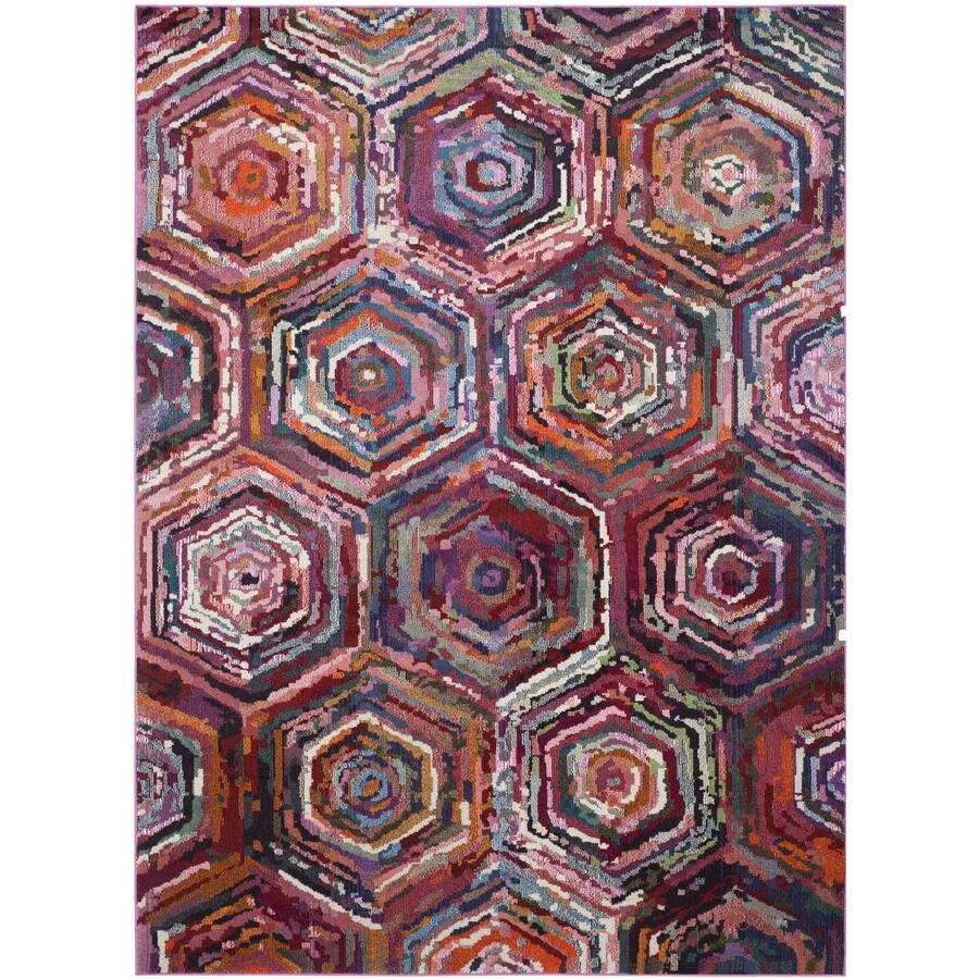 Safavieh Monaco Pink/Multi Rectangular Indoor Machine-Made Distressed Area Rug (Common: 9 x 12; Actual: 9-ft W x 12-ft L x 0-ft Dia)