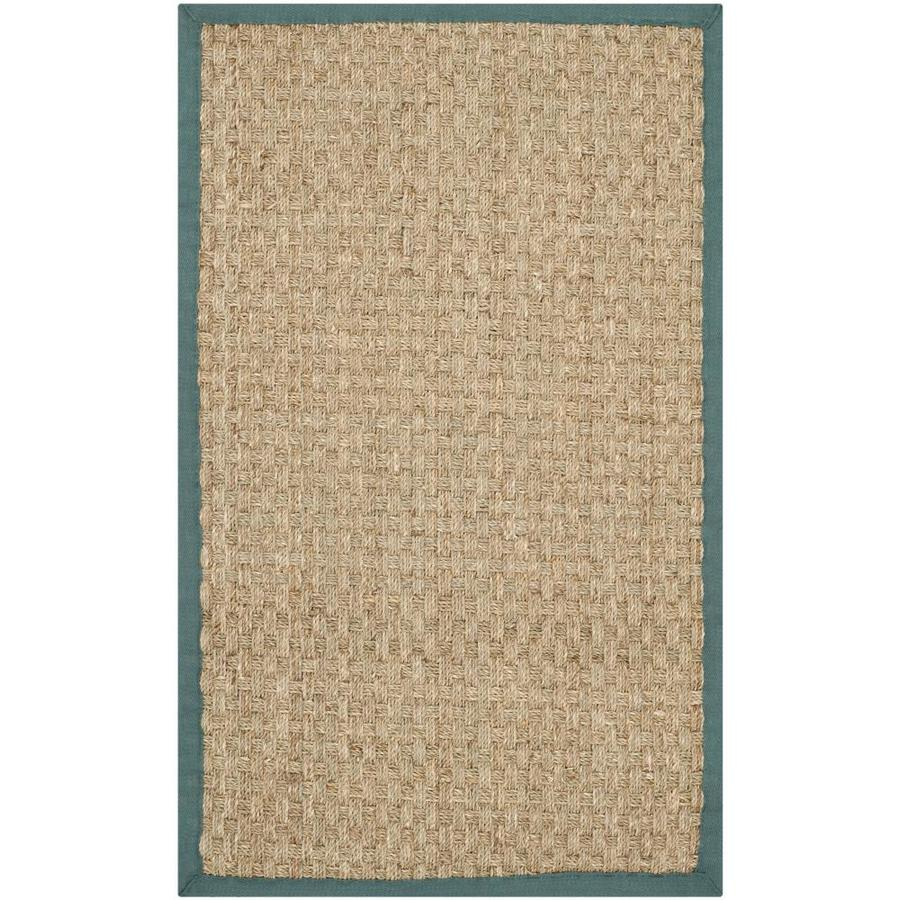Safavieh Natural Fiber Hampton Natural/Light Blue Rectangular Indoor Machine-made Coastal Throw Rug (Common: 2 x 3; Actual: 2-ft W x 3-ft L)