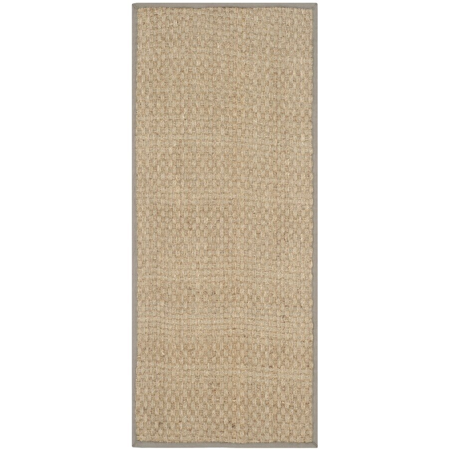 Safavieh Natural Fiber Hampton Natural/Gray Rectangular Indoor Machine-made Coastal Runner (Common: 2 x 12; Actual: 2.5-ft W x 12-ft)
