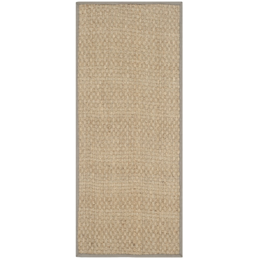 Safavieh Natural Fiber Hampton Natural/Gray Rectangular Indoor Machine-made Coastal Runner (Common: 2 x 14; Actual: 2.5-ft W x 14-ft)