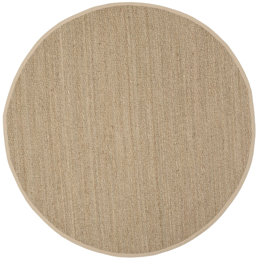Safavieh Natural Fiber Montauk Natural/Beige Round Indoor Machine-made Coastal Area Rug (Common: 8 x 8; Actual: 8-ft W x 8-ft L x 8-ft dia)