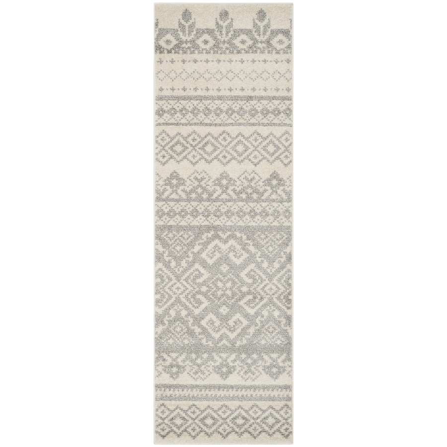 Safavieh Adirondack Ivory/Silver Rectangular Indoor Machine-Made Lodge Runner (Common: 2 x 14; Actual: 2.5-ft W x 14-ft L)