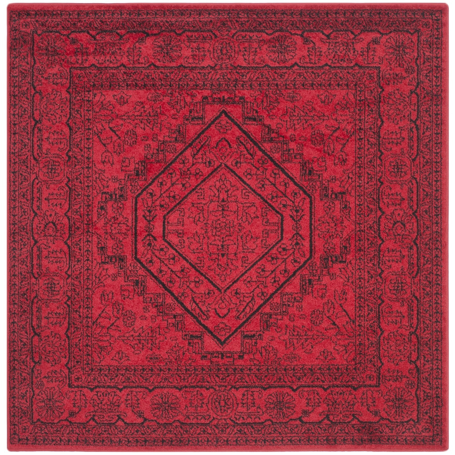 Safavieh Adirondack Herati Red/Black Square Indoor Machine-made Lodge Area Rug (Common: 6 x 6; Actual: 6-ft W x 6-ft L)