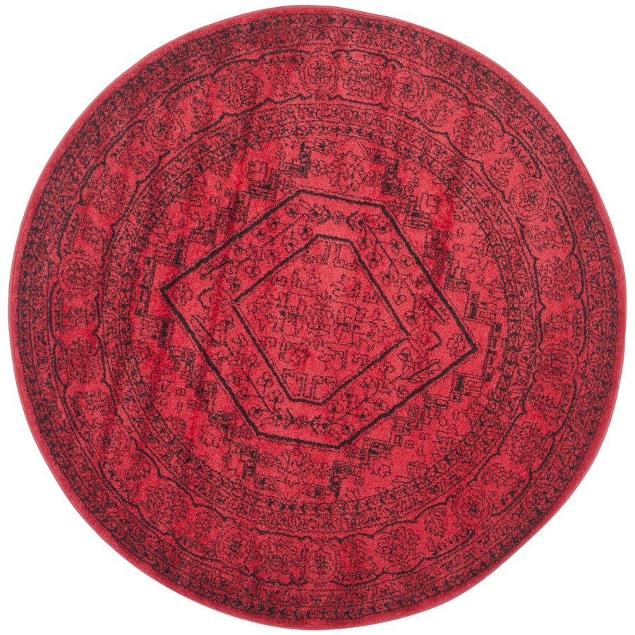 Safavieh Adirondack Herati Red/Black Round Indoor Lodge Area Rug (Common: 8 x 8; Actual: 8-ft W x 8-ft L x 8-ft dia)