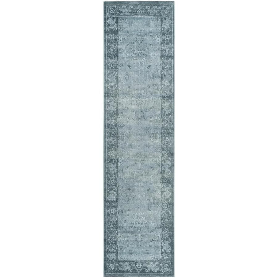 Safavieh Vintage Oushak Light Blue/Dark Blue Indoor Distressed Runner (Common: 2 x 8; Actual: 2.2-ft W x 8-ft L)
