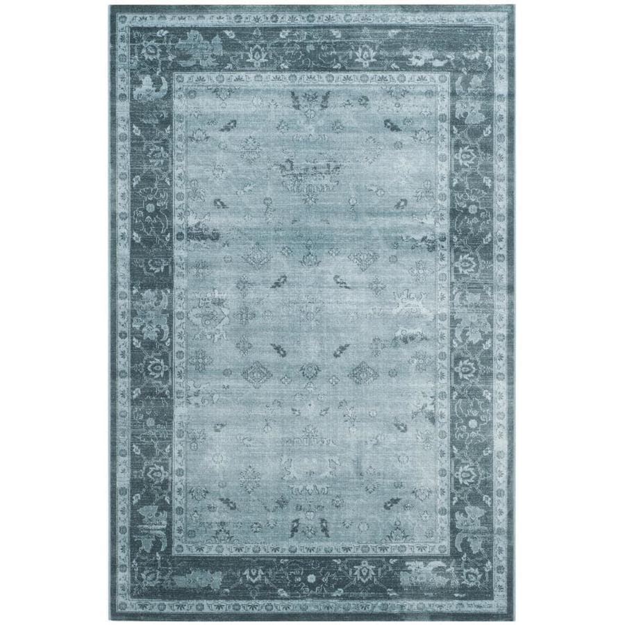 Safavieh Vintage Oushak Light Blue/Dark Blue Rectangular Indoor Machine-made Distressed Area Rug (Common: 4 x 6; Actual: 4-ft W x 5.6-ft L)