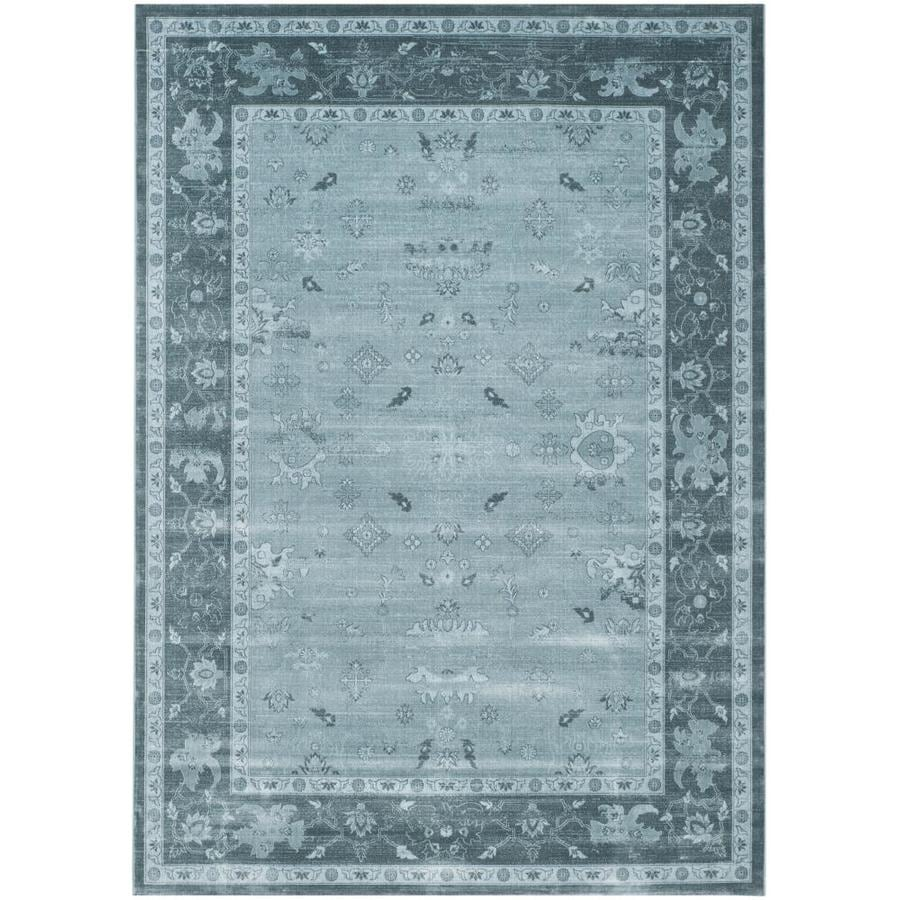 Safavieh Vintage Light Blue/Dark Blue Rectangular Indoor Machine-Made Distressed Area Rug (Common: 8 x 11; Actual: 8-ft W x 11-ft L)