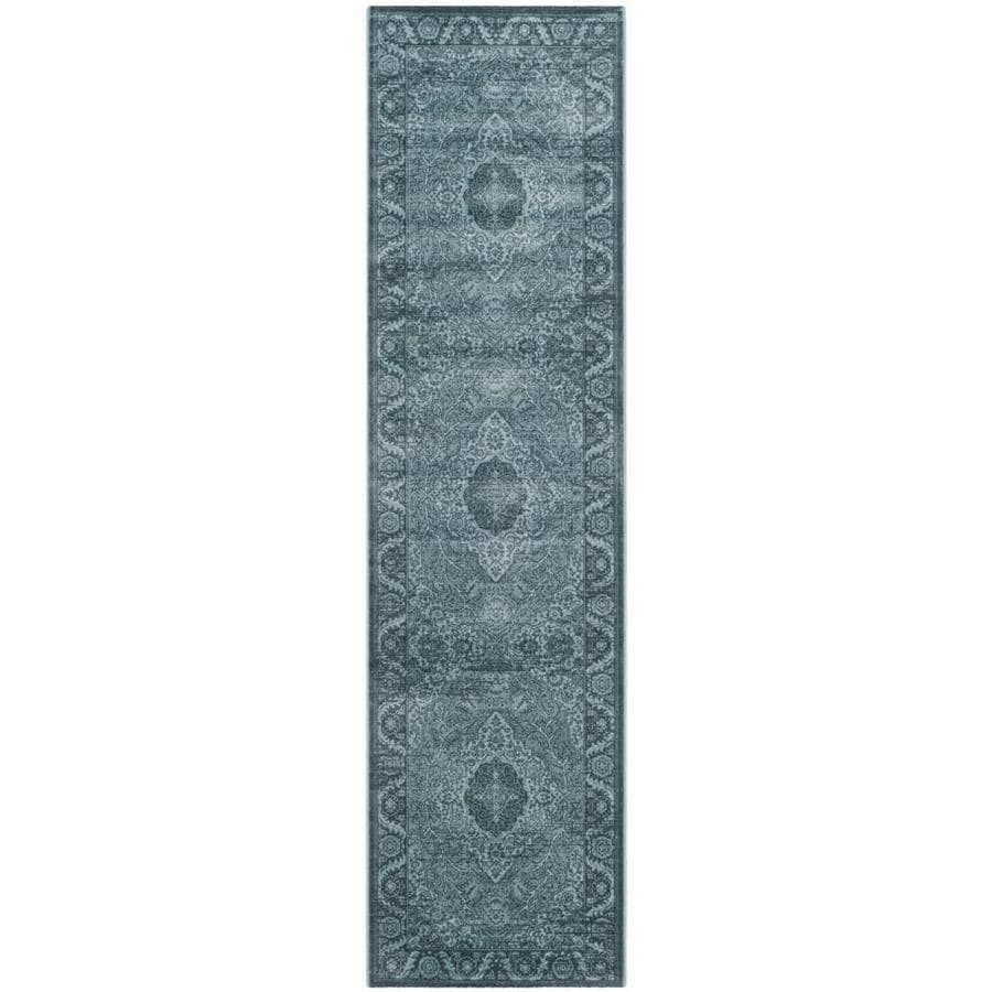 Safavieh Vintage Light Blue/Dark Blue Rectangular Indoor Machine-Made Distressed Runner (Common: 2 x 8; Actual: 2.167-ft W x 8-ft L x 0-ft Dia)