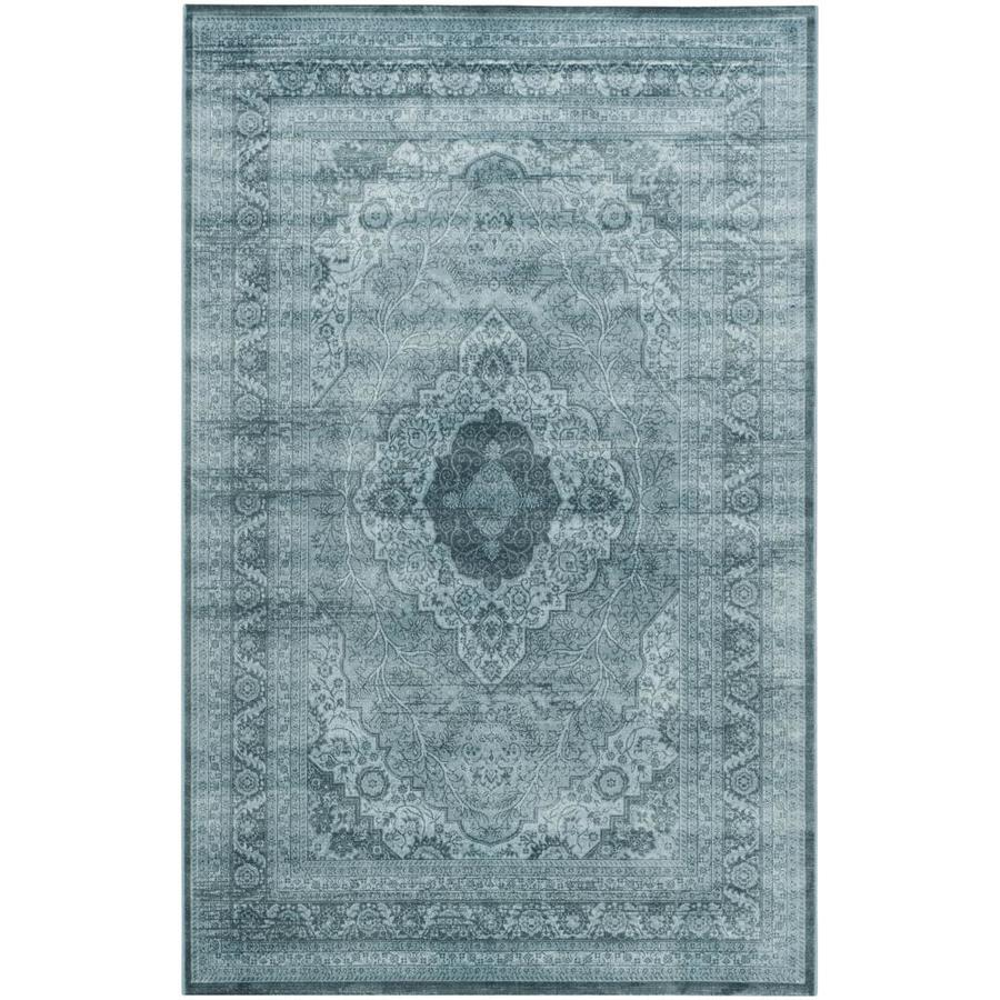 Safavieh Vintage Sultan Light Blue/Dark Blue Rectangular Indoor Machine-made Distressed Area Rug (Common: 5 x 7; Actual: 5.1-ft W x 7.5-ft L)