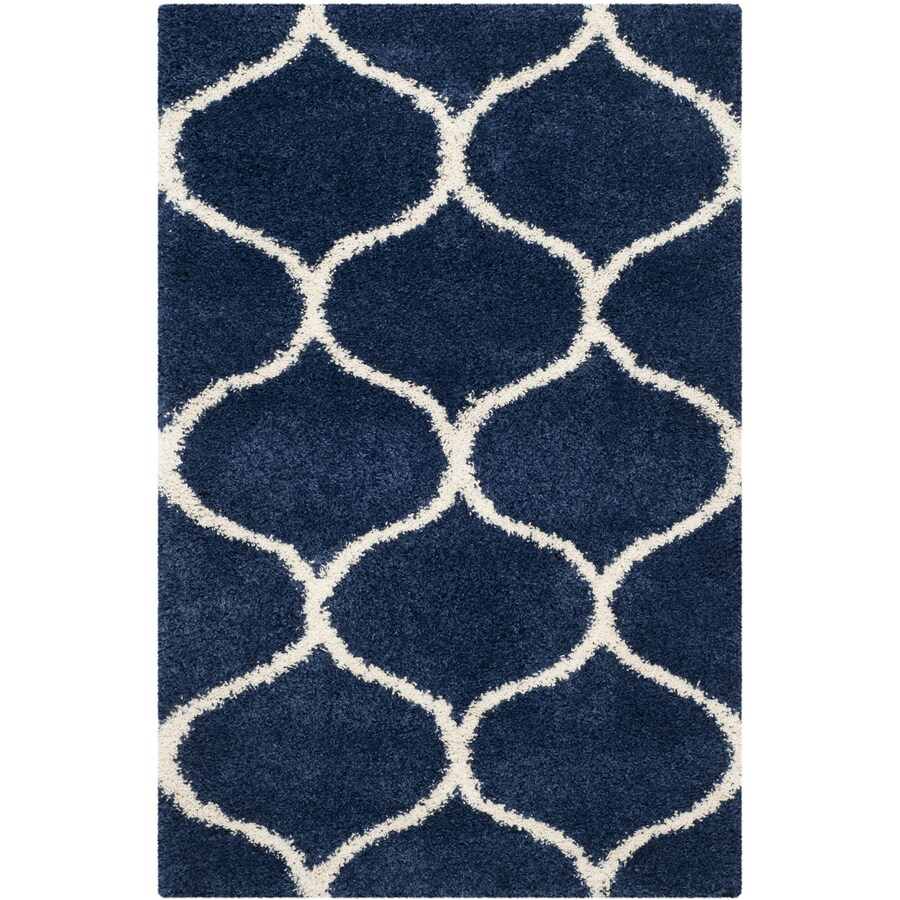 Safavieh Hudson Hathaway Shag Navy/Ivory Indoor Moroccan Area Rug (Common: 4 x 6; Actual: 4-ft W x 6-ft L)
