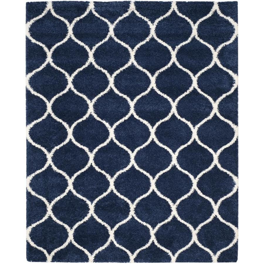 Safavieh Hudson Shag Navy/Ivory Rectangular Indoor Machine-Made Area Rug
