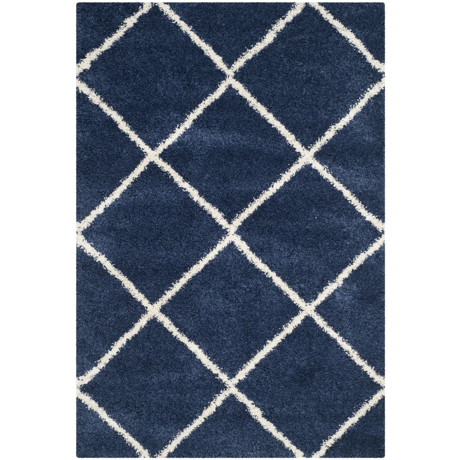 Safavieh Hudson Beckham Shag Navy/Ivory Rectangular Indoor Machine-made Moroccan Area Rug (Common: 5 x 7; Actual: 5.1-ft W x 7.5-ft L)
