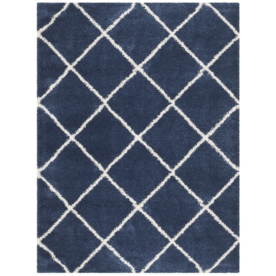Safavieh Hudson Shag Navy/Ivory Rectangular Indoor Machine-Made Moroccan Area Rug (Common: 8 x 10; Actual: 8-ft W x 10-ft L)