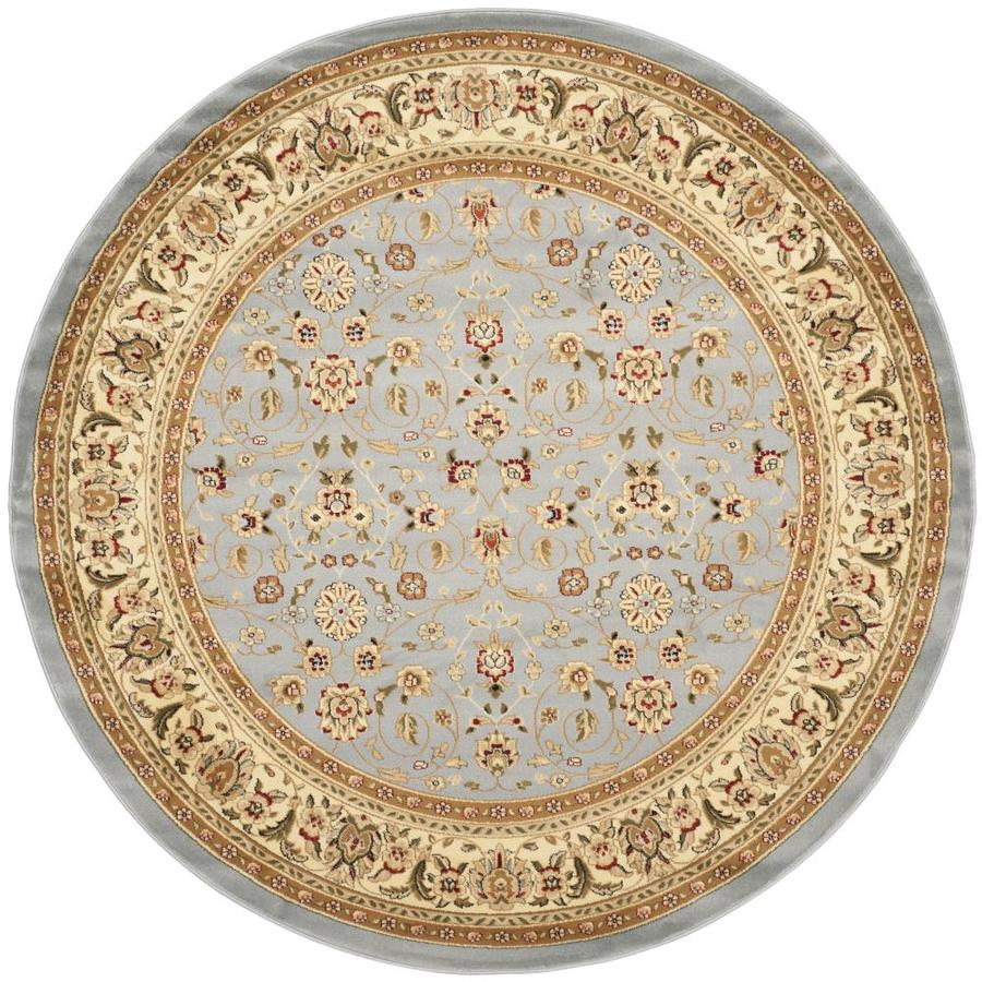 shop safavieh lyndhurst qum light blue ivory round indoor oriental area rug common 9 x 9. Black Bedroom Furniture Sets. Home Design Ideas