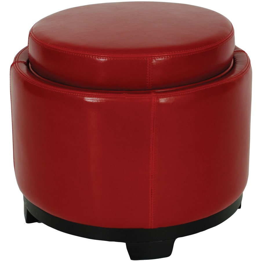 Safavieh Round Casual Red Faux Leather Round Storage Ottoman
