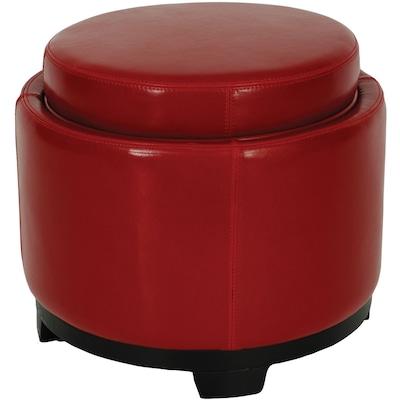 Phenomenal Safavieh Round Casual Red Faux Leather Round Storage Ottoman Uwap Interior Chair Design Uwaporg