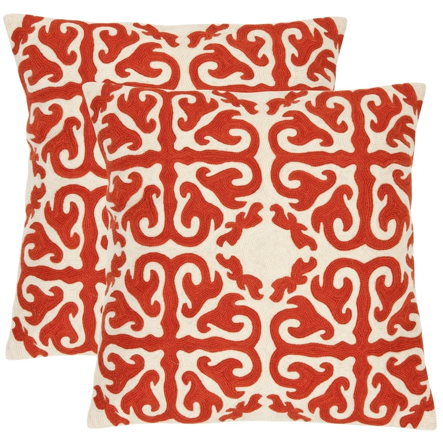 Safavieh Moroccan 2-Piece 18-in W x 18-in L Orange Sunburst Square Indoor Decorative Pillow