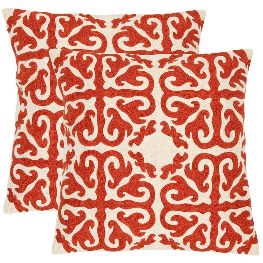 Safavieh Moroccan 2-Piece 18-in W x 18-in L Orange Sunburst Indoor Decorative Pillow