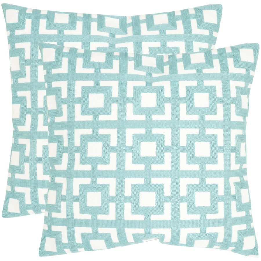 Safavieh Emily 2-Piece 18-in W x 18-in L Turquoise Indoor Decorative Pillow