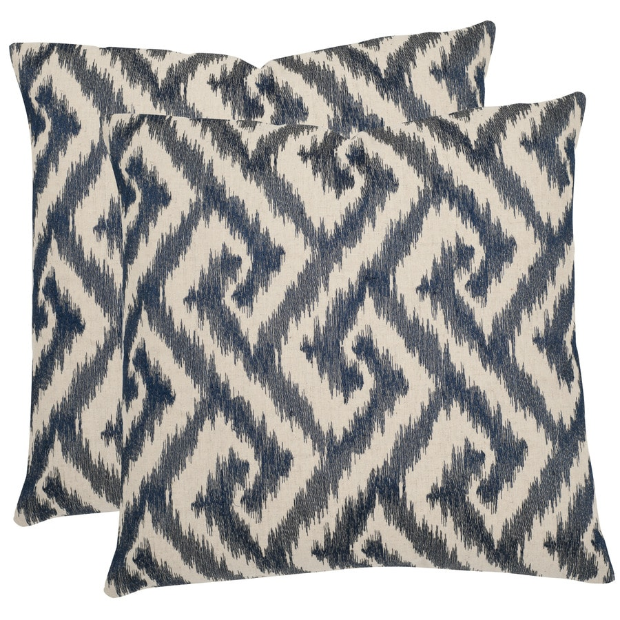 Safavieh Teddy 2-Piece 18-in W x 18-in L Blue Square Indoor Decorative Pillow