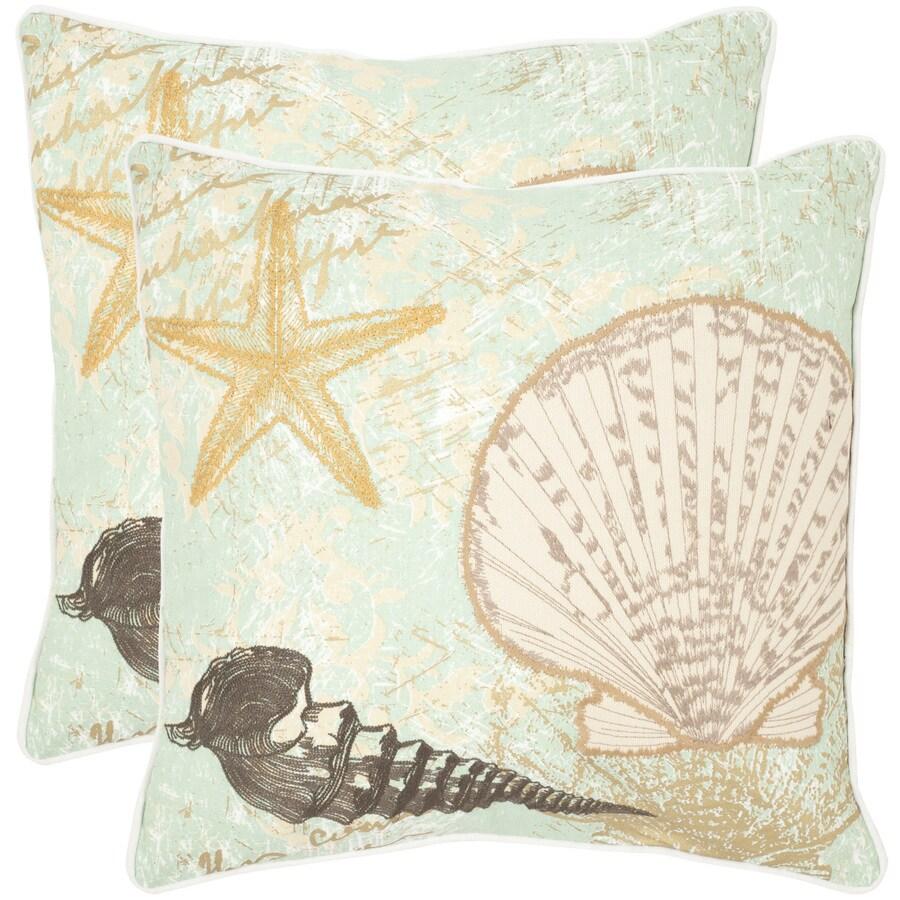 Safavieh Eve 2-Piece 22-in W x 22-in L Seafoam/Green Square Indoor Decorative Pillow