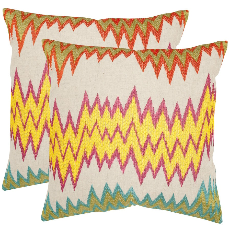 Safavieh Ashley 2-Piece 22-in W x 22-in L Neon/Yellow Square Indoor Decorative Pillow