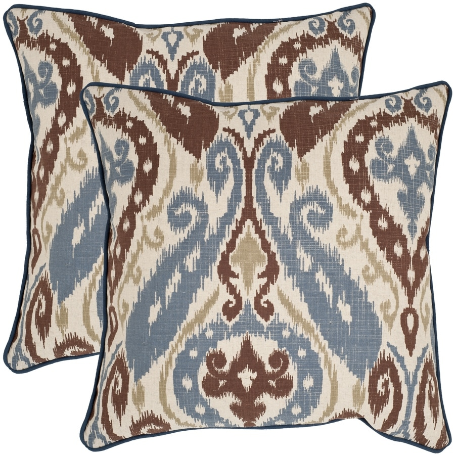 Safavieh Charlie 2-Piece 18-in W x 18-in L Blue/Brown Indoor Decorative Pillow