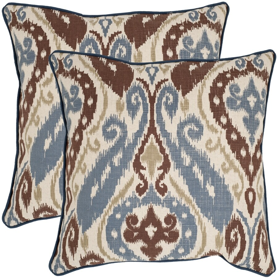 Safavieh Charlie 2-Piece 22-in W x 22-in L Blue/Brown Square Indoor Decorative Pillow