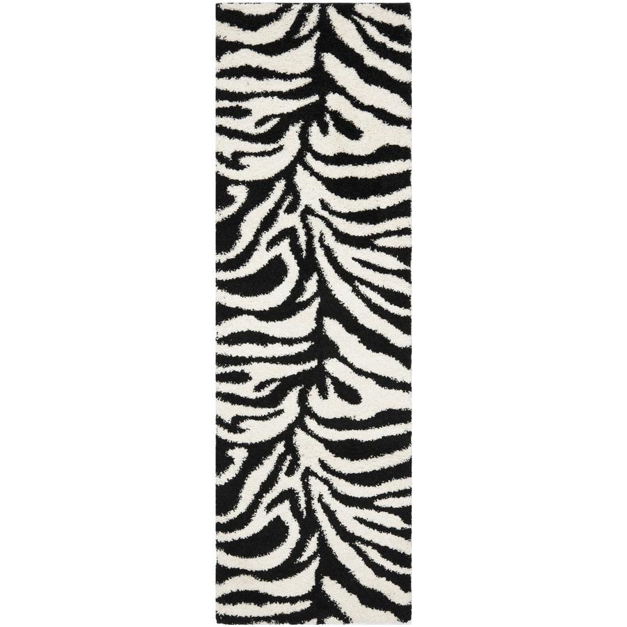 Safavieh Zebra Shag Ivory/Black Rectangular Indoor Machine-Made Runner